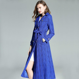 $enCountryForm.capitalKeyWord NZ - 2019 spring autumn woman clothes long trench coat lapel belt lace gemstone blue office lady plus size trench coat h104