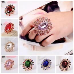 $enCountryForm.capitalKeyWord Australia - Retro Charm Oval Large Crystal Ring Exaggerated Chunky Rhinestone Adjustable Large Wedding Rings Luxury Glass Statement Jewelry
