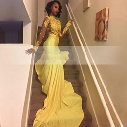 $enCountryForm.capitalKeyWord NZ - Amandabridal 2019 Pretty Yellow African Lace Appliqued South African Prom Dress Mermaid Long Sleeve Banquet Evening Party Gown Plus Size