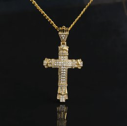 $enCountryForm.capitalKeyWord Australia - Fashion Movies Hiphop Brand Jewelry For Men Luxury Gem Cross Pendant Necklaces 18 K Gold Plated Chains