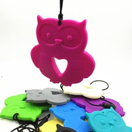 $enCountryForm.capitalKeyWord Australia - Wholesale-5pcs lot Newest Silicone owl pendants necklace for baby chew , of owl chewing teether for baby nursing pendant