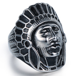 Discount skull ring sizes - jingyang New Indian Chief Forefinger Titanium Steel Retro Punk Cast Skull Personality Ring Stainless Steel Jewelry