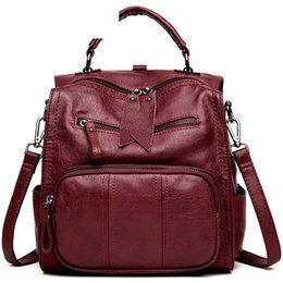 $enCountryForm.capitalKeyWord Australia - good quality Pu Leather Casual Backpack Solid Color Large Capacity Rucksack For Women Simple England Style Backpack For Female