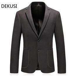 Suits Blazers Pattern Australia - Dekusi Suit New Pattern Business Affairs Leisure Casual Loose Coat Thickening Men Clothing Blazer Hombre
