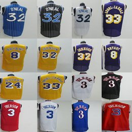 2f8f20e77 Men 3 Iverson Jersey 8 24 Kobe 32 Oneal 33 Kareem Abdul Jabbar 32 Johnson  Retro Basketball Jerseys