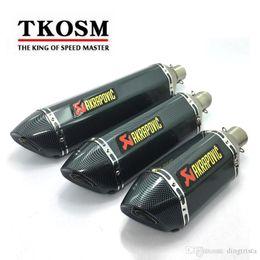 TKOSM Escape de Moto Universal 51mm 3 Tamaño Longitud 570mm 470mm 380mm Acero Inoxidable Fibra de Carbono Cara de Akrapovic Tubo de Escape de Moto en venta