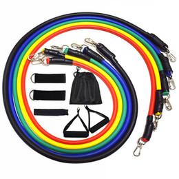 Ingrosso 11 pz / set Pull Rope Fitness Esercizi bande di resistenza Crossfit tubi in lattice pedale Excerciser Body Training Yoga