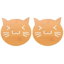 $enCountryForm.capitalKeyWord UK - Wooden Cup Coaster Cartoon Cat Pattern Hollow Heat Resistant Cup Holder Pad Solid Coffee Bowl Holder Pad For Table Decor