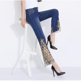 skinny lace jeans women Australia - Women Jeans Light Blue Black Spring and Summer Thin Stretch Sexy Lace Flares Embroidered Skinny Sequined Slimming Mujer