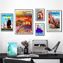 $enCountryForm.capitalKeyWord NZ - Fly to South America Peru Vintage Retro Travel Classic Canvas Paintings Kraft Posters Wall Stickers Home Decor Family Gift