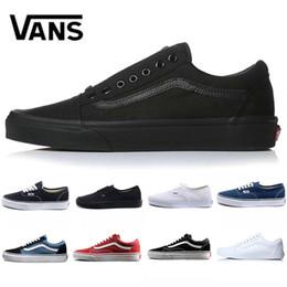 e16799c87f Marca Original Vans old skool medo de deus homens mulheres lona tênis preto  branco YACHT CLUB vermelho azul moda skate sapatos casuais