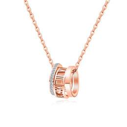 rose gold round pendant necklaces Australia - Fashion Stainless Steel Three round with CZ Pendant Necklace For women Link Chain Rose Gold trendy Female party Jewelry Gift FS25