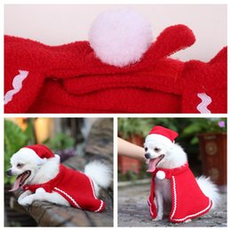cat christmas ornament NZ - Christmas Cat Puppy Santa Hat Cloak Pet Cosplay Costume Xmas Kitten Puppy Red Caps Clothing Clothes