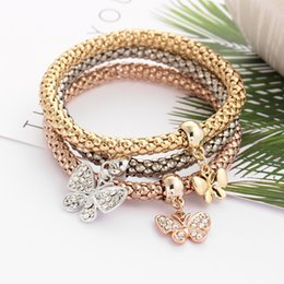 $enCountryForm.capitalKeyWord Australia - 3 Pcs Set Crystal Butterfly Heart Key And Lock Charm Bracelet & Bangle Gold Silver Plated Heart Charms Rhinestone Bracelets For Women