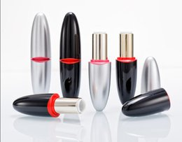 beauty style lipstick NZ - 12.1mm Empty Black Silver Bullet Shaped Lipstick Tube, DIY Oval Style Plastic Lip Balm Container, Beauty Lip Rouge Sub package