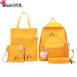 $enCountryForm.capitalKeyWord NZ - 4pcs set Canvas Travel Backpack with Hair Ball Casual Style Shoulder Crossbody School Pen Bag Women Back pack