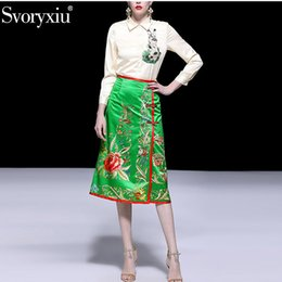 $enCountryForm.capitalKeyWord NZ - wholesale Fashion Designer Spring Summer Two Piece Set Women's Elegant Beige Long Sleeve Blouse + Vintage Print Skirts Sexy Skirt