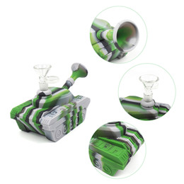 Discount glass tank bong - Bong rig water pipes silicone pipes hookah wholesale Tank shape bubbler silicone bong smoking pipes unbreakable pipe wit