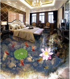 $enCountryForm.capitalKeyWord Australia - 3D custom self-adhesive waterproof photo floor mural wallpaper Goldfish small pond fish group 3D stereo bedroom bathroom floor wall stickers