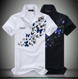 butterfly polo Australia - Summer New Men's Designer Chinese Style C Printed Butterfly POLO Shirts with Lapels and Short Sleeves