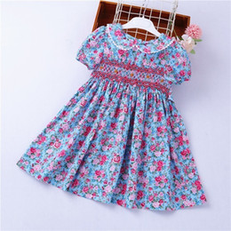 Flower Girl Kids Frock Australia - Smocked Dresses For Girls Frock Cotton Summer Kids Flower Dresses For Baby Outfit Embroidery Party Holiday School Boutiques J190615