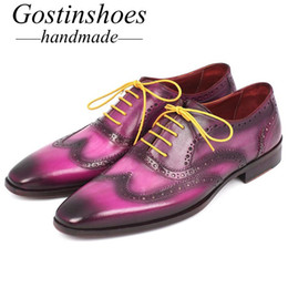 Handmade Brogue Men Shoe Australia - GOSTINSHOES HANDMADE Goodyear Welted Men's Formal Brogue Oxfords Cow Leather Hand-Painted Lace-Up Pointed Toe 8 Styles Dress Shoes Men SCT13