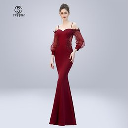 $enCountryForm.capitalKeyWord NZ - Skyyue Evening Dress Soild Sweetheart Robe De Soiree Full Sleeve Women Party Dresses Off The Shoulder Formal Gowns 2019 C302