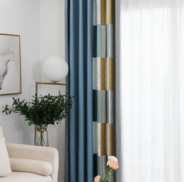 Modern Living Products Australia - Modern style geometric mosaic curtains blue blackout curtain bedroom living room decoration finished products wholesale free shipping