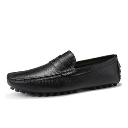 $enCountryForm.capitalKeyWord Australia - Genuine Leather Men Shoes Luxury Italian Casual Mens Loafers Moccasins Breathable Slip on Boat Shoes Black Plus Size 39-48