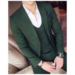 Beige Slim Suits For Men Australia - Handsome Green Wedding Tuxedos Slim Fit Notched Lapel Suits For Men Cheap One Button Groom Suit (Jacket+Pants+Vest)