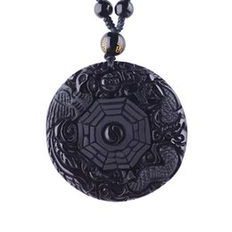 $enCountryForm.capitalKeyWord Australia - amulets and talismans Amulets And Talismans Natural Black Obsidian Necklaces & Pendants Carved Chinese Yin Yang Bagua Zhen Dragon Phoenix
