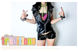 leather black shorts NZ - hengyi Sexy black PU leather shorts and hot pants American and European ds costumes women shorts