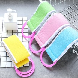 Sanitary Belts Australia - Back Strip Bath Towel Candy Color Thickened Double Back Rubbed Bath Sponge Bath Towel Rub Brush Pull Back Belt Bathroom Tools