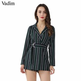 8ba52af1210 Vadim women chic striped playsuits bow tie sashes Notched collar office lady  wear jumpsuits slim causal brand rompers KZ1128 Q190422