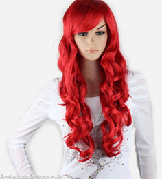Anime wigs red online shopping - WIG Hot heat resistant Party hair gt gt gt New Cosplay Party Fashion Red Bang Anime Long Wavy Curly Women Full Wigs