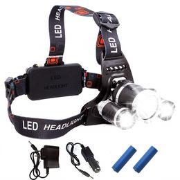 Farol Recarregável 13000Lm xm-T6 3Led HeadLamp luz da cabeça Lâmpada de Pesca Caça Lanterna + 2x18650 bateria + Car / AC / USB carregador em Promoção