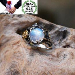 $enCountryForm.capitalKeyWord Australia - OMHXZJ Wholesale European Fashion Woman Man Party Wedding Gift Silver White Gold Leaves Rose Moonstone Taiyin Ring RR321