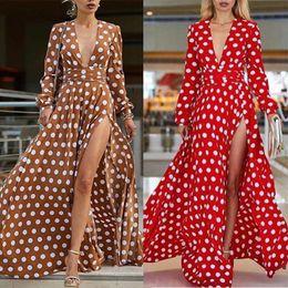Wholesale high neck red polka dot dress for sale – plus size Polka Dot Dress Red Long Sleeve Summer Dress Women Boho Dresses ladies Sexy High Split Tunic women Long Dress Summer