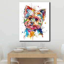 $enCountryForm.capitalKeyWord Australia - 1 Piece Printed Animal Colorful Dog Oil Painting Wall Art Pictures For Living Room Home Decor Canvas Painting No Framed