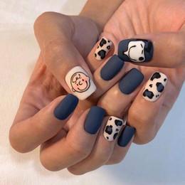 $enCountryForm.capitalKeyWord Australia - 24 Pcs Set Wearable Fake Nails Frosted False Nails Finished Nail Patch Metal Powder Press On Nails For Fashion Lady Pregnant Women
