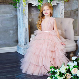 $enCountryForm.capitalKeyWord Australia - Puffy Tulle Tiered Flower Girl Dresses 2019 Sleeveless Ruffles Skirt Kids Prom Party Gown Floor Length Bohemian Flower Girls Gowns