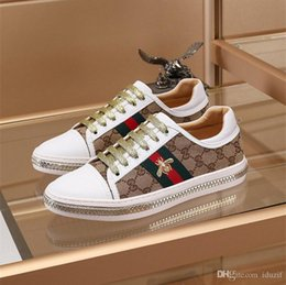 Hand Safety Cartoon Australia - Best Find Similar High Quality Bees Embroidered Designer Shoes Mens Womens ACE Genuine Leather Sneakers White Luxury Casual Shoes