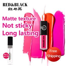Matt Make Up Australia - Red&black Lips Makeup 1 Pcs Matte Lip Gloss Maquiagem Brand Matt Liquid Lipstick Make Up Cosmetics Mate Batom Beauty Lipgloss