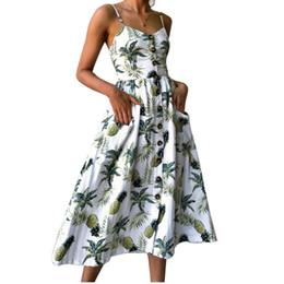 c1d522838 Vestido de las mujeres del verano 2019 Vintage sexy bohemio floral túnica  vestido de playa Sundress Pocket rojo vestido blanco a rayas mujer