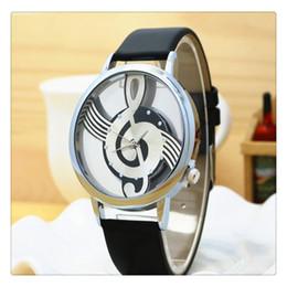 Discount music batteries - Fashion Women Watch Style Quartz Women Top Brand Note Music Notation Leather Analog Quartz Wrist Watch