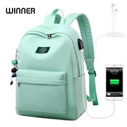 Small child School online shopping - WINNER Solid Color Printing Laptop Backpack for Girls Usb Charging Animal Pendant Children School Bags Female Travel Mochila Bag T191021