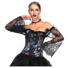 b07e995fa6 Black Floral Print Lace Flare Sleeve Vintage Bustier Femme Sexy Corset Top Victorian  Gothic Clothing Burlesque Costume Women