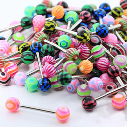 Wholesale 100pcs Mix Style barbell bar tongue piercing rings fashion stainless steel mixed candy colors men women body jewelry