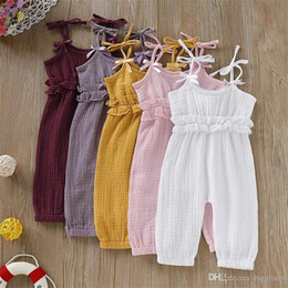 $enCountryForm.capitalKeyWord NZ - Designer Infant Baby Girls Overalls Rompers Summer Design Blank Ruffles Belt Jumpsuits Toddler Outfits Cotton Bodysuits Suspender 0-2T