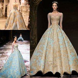 $enCountryForm.capitalKeyWord Australia - Michael Cinco 2019 Ball Gown Prom Dresses Vintage Gold Lace Sweep Train Evening Gowns Plus Size Illusion Long Sleeve Arabic Party Dress